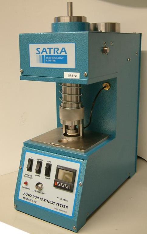 The blue SATRA rub tester