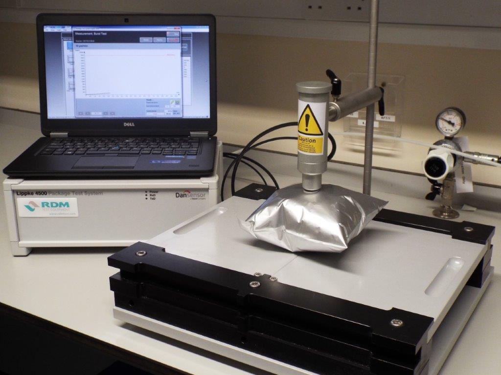 The Lippke 4500 machine testing the pressure on a foil pack.