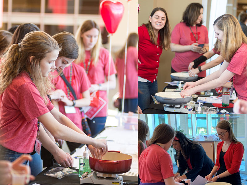 Smithers leads hands-on STEM activities for female students at the 2nd Annual American Heart Association STEM Goes Red for Girls